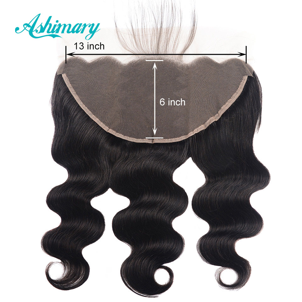Ashimary Brazilian Body Wave 13x6 Lace Frontal Closure Free Part Remy Human Hair Lace Frontal Natural Color