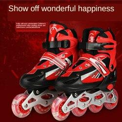 Les nouveaux patins à simple flash Pvc rond adulte patins à roulettes enfants réglable mode sécurité simple rangée patin à roulettes chaussures de Skate