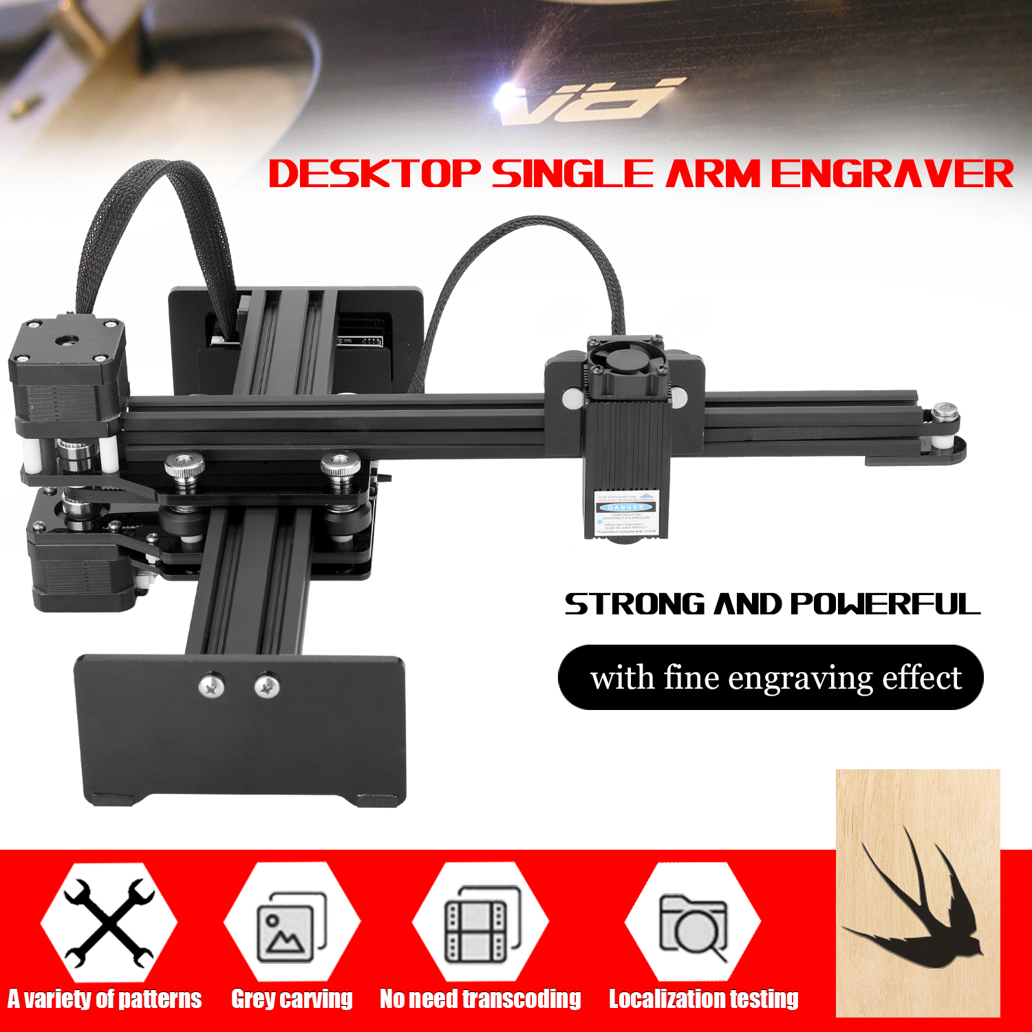 2.5W Small Laser Engraving Machine Desktop Single Arm Engraver Portable DIY Engraving Carving Machine Mini Carver EU / US Plug