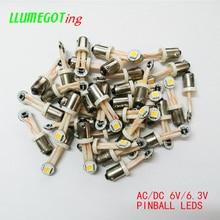 50 pces ba9s t4w #44 #47 base com fio flexível vária cor não polaridade ac dc 6v 6.3v máquina de jogo pinball lâmpadas led
