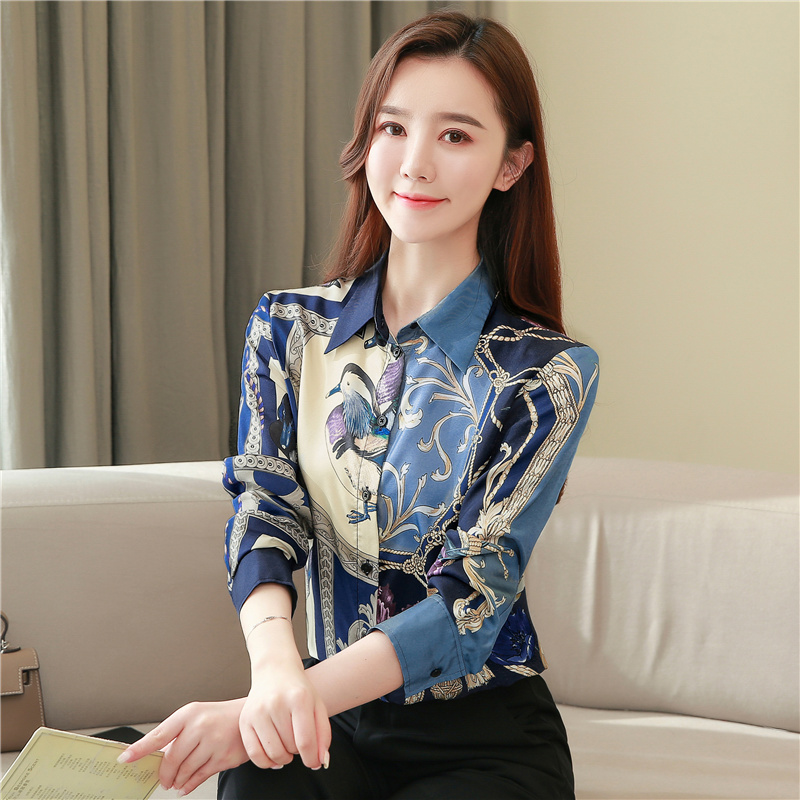 High Quality Clothes Vintage Long Sleeve Silk Blouse Women Spring Fashion 2021 Office Lady Shirt  Loose Plus Size Tops 8425 50 3