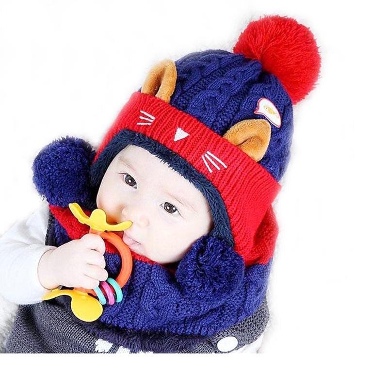 Doitbest 1 To 4 Years Old Cartoon Kitten Velvet Wool Kids Boys Beanies Knitted Fur Hats Winter 2 Pcs Baby Girl Scarf Hat Set
