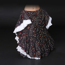 купить Tribal Belly Dance Skirt 14 Meters Full Circle Wide Printed Cotton Spanish Flamenco Dress Gypsy Tribal Fusion Belly Dancel Ats дешево
