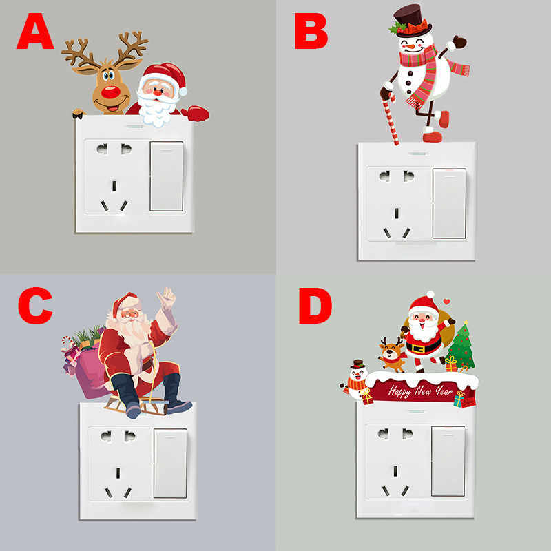 Snowman wall stickers home decoration living room Christmas decorative wall switch New Year Christmas removable wall sticker