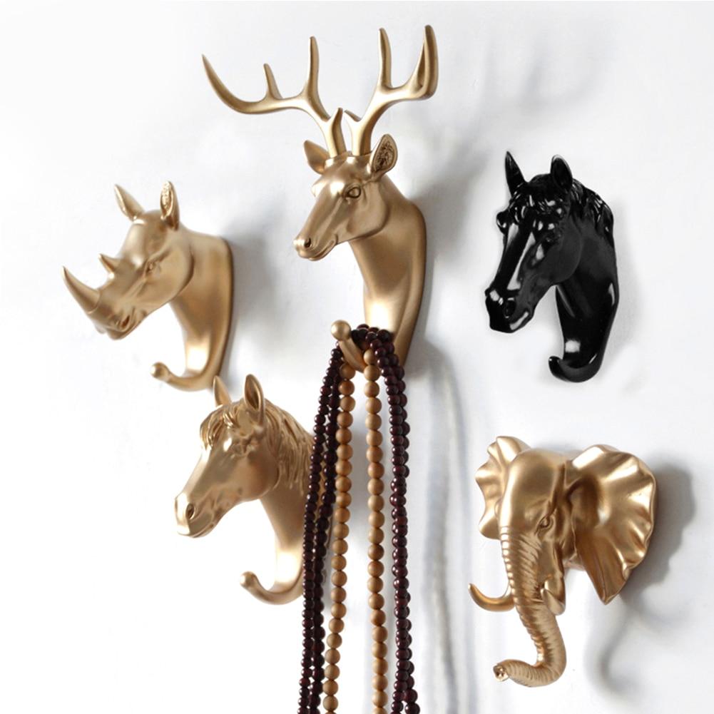 Creative 3D Wall Hangers Decoration Animal Door Hooks Decorative Coat Hooks Resin Hooks Deer Rhino Elephant Giraffe Horse Decors