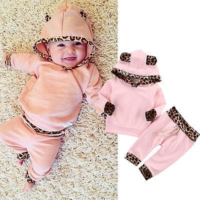 Newborn Cute Baby Clothes For Kids girls Leopard set Bebek Hooded Sweatshirt Tops+Pants Outfits Tracksuit Kids Clothing Set