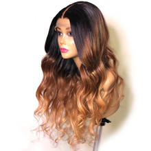 3 Tone Ombre 1b 4 27 Colored Human Hair Wigs Black Brown Honey Blonde Body Wave Lace Front Wig 180 Density Remy Pre Plucked