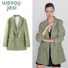 Blazer Coat Women Turn-down Pocket green  Long Sleeve Suit Blazer Cool OL Slim Autumn Outerwear Female blazers Tops Suit все цены