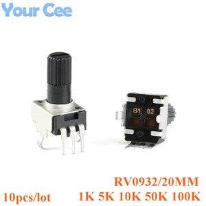 10 шт., вертикальный резистор Rv09, 20 мм, 1k 5k 10k 50k 100k 0932, регулируемый резистор, 3-контактный потенциометр уплотнения 102 502 103 503 104
