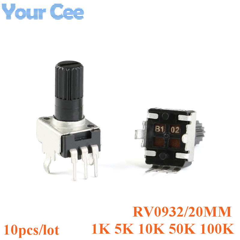 10pcs Rv09 Vertical 20mm Shaft 1k 5k 10k 50k 100k 0932 Adjustable Resistor 3pin Seal Potentiometer 102 502 103 503 104