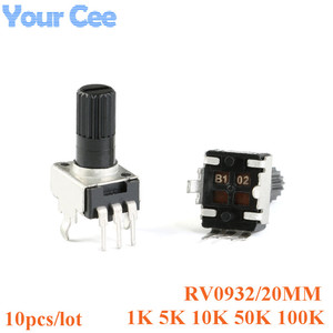 10pcs Rv09 Vertical 20mm Shaft 1k 5k 10k 50k 100k 0932 Adjustable Resistor 3pin Seal Potentiometer 102 502 103 503 104(China)