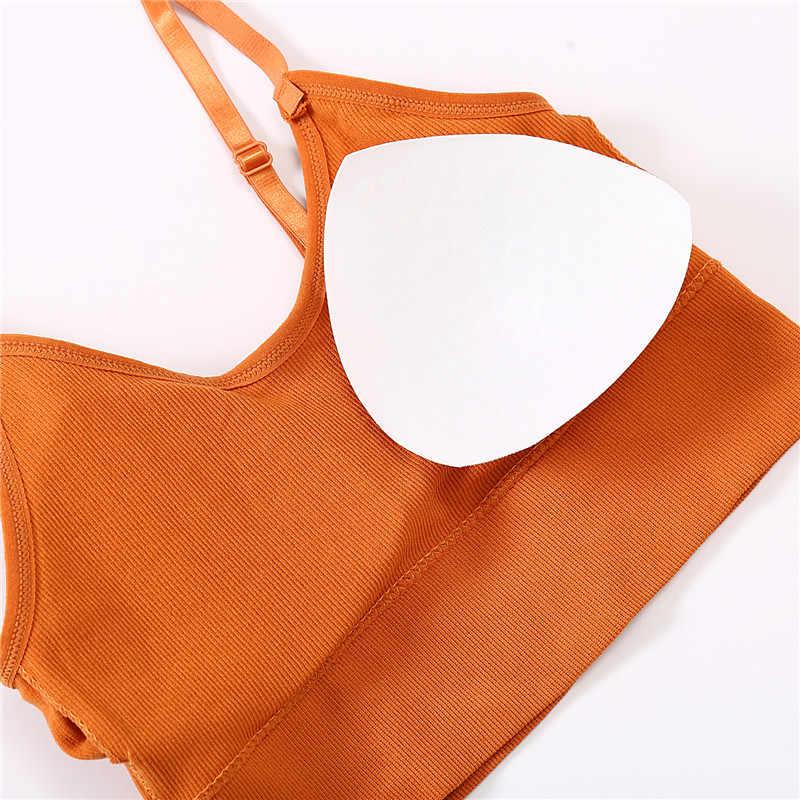 Finetoo profundo v feminino sexy bralette algodão sutiã ativo sólida colheita topo acolchoado bralette confortável lingerie sem fio 2020