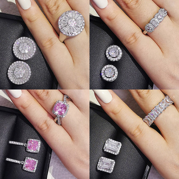 2pcs Pack 925 Sterling Silver Cushion Cut Zircon Jewelry Set Engagement Ring Stud Earring For Women Gift  J5968 1