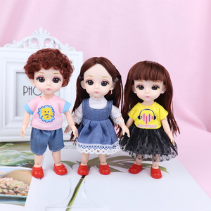 New 16cm BJD Mini Doll Boy Girl Baby 3D Eyes Beautiful Toy Doll with Clothes Dress Up 1/12 Dolls 13 Movable Jointed(China)