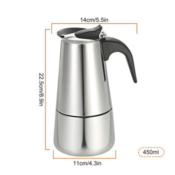 New 450ml/300ml/200ml/100ml Coffee Maker Pot Espresso Percolator Coffee Stovetop Maker Mocha Pot for Use on Gas or Electric Stov