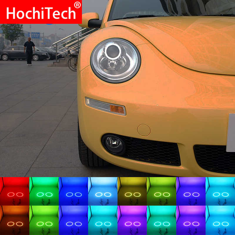 ไฟหน้า Multi-สี RGB LED แองเจิลตา Halo แหวน Eye DRL รีโมทคอนโทรล RF สำหรับ Volkswagen VW Beetle 2006 -2010 อุปกรณ์เสริม