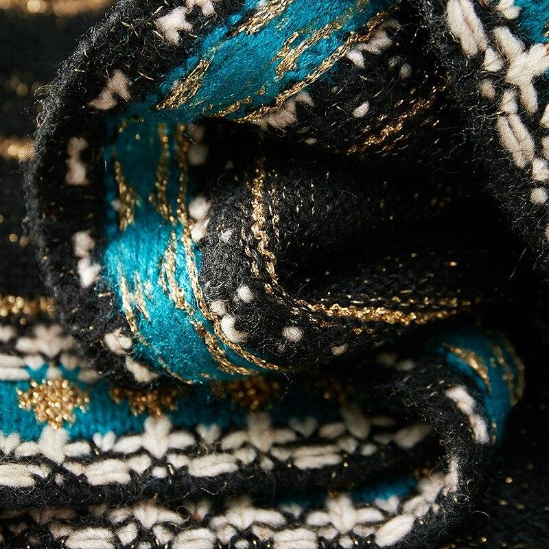 Зима 2019, Европейская мода, Классический шерстяной смешанный вязаный полосатый свитер, топы и подходящая половинчатая юбка, 2 предмета, наряд... - 4