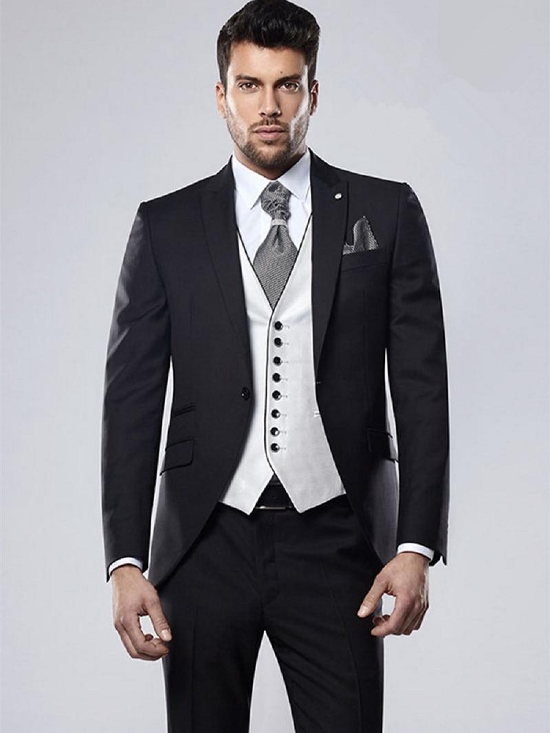 New Design Formal Wedding Men Tuxedos Peaked Collar Suit Mens Business Office Slim Fit Custom Skinny (Jacket+Pants+Vest)