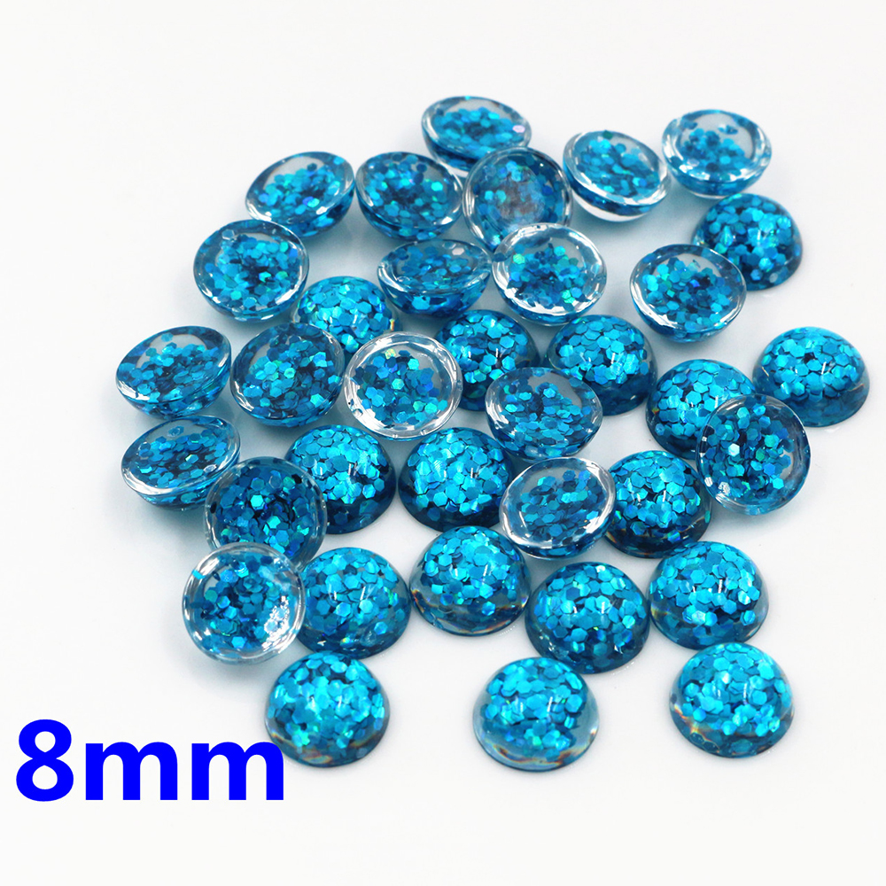 New Fashion 40pcs 8mm Sky Blue Color Flat Back Resin Cabochons Cameo  O7-03
