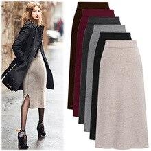 Pencil-Skirts Bodycon Plus-Size Back-Slit Elegant High-Waist Women Formal 5xl 6xl Autumn