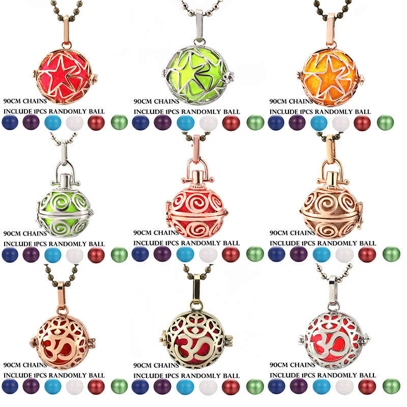 Mexico Chime 3D Aroma Vintage Locket Necklace Music Ball Pregnancy Necklace Pentagram Essential Oil Box Pregnant Fashion Jewelry