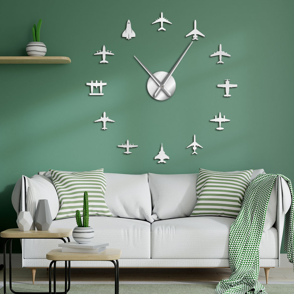 Flying Plane Fighter Jet Modern Large Wall Clock DIY Acrylic Mirror Effect Sticker Airplane Silent Wall Clock Aviator Home Decor