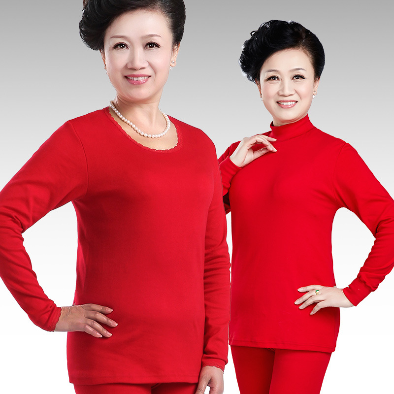 M-4XL Big Red Turtleneck Mother's Thermal Clothes Plus Size Solid 100%Cotton Thermo Underwear For Women Winter Pajamas Long John
