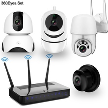 Draadloze Ip Camera Cctv Camera Security System Kit 4 Stuks 1080P Sd kaart Cloud Storage Twee Weg Audio Thuis video Surveillance Kit