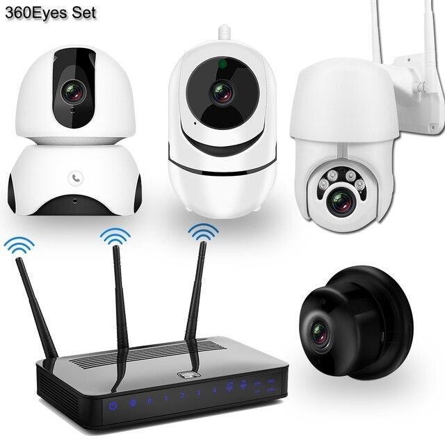 كاميرا IP لاسلكية كاميرا تلفزيونات الدوائر المغلقة نظام الأمن عدة 4 قطعة 1080P SD بطاقة سحابة التخزين اتجاهين الصوت المنزل طقم مراقبة الفيديو