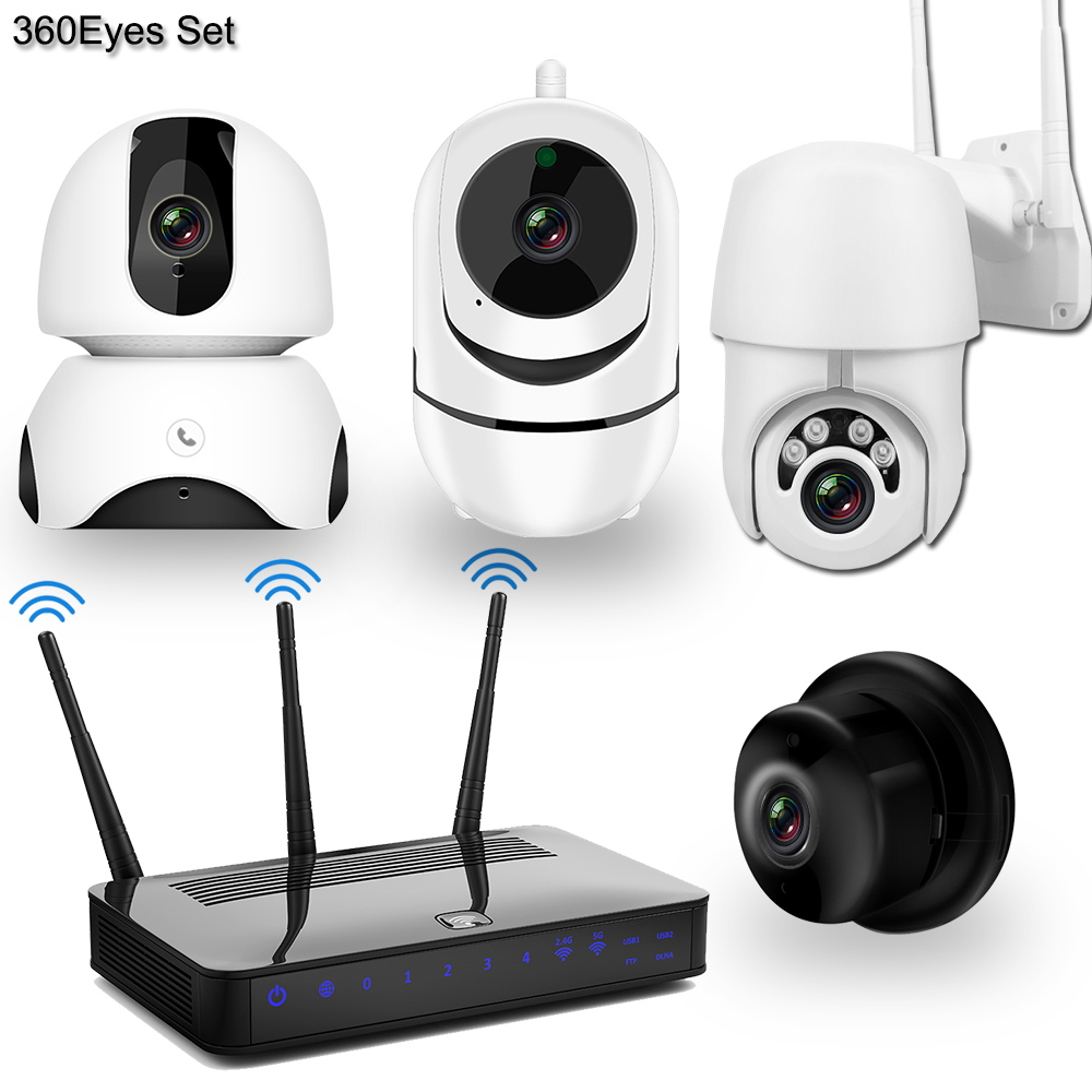 Wireless IP Camera CCTV Camera Security System Kit 4pcs 1080P SD Card Cloud Storage Two Way Audio Home Video Surveillance Kit