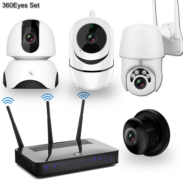 Wireless IP Camera CCTV Camera Security System Kit 4pcs 1080P SD Card Cloud storage Two Way Audio Home Video Surveillance Kit