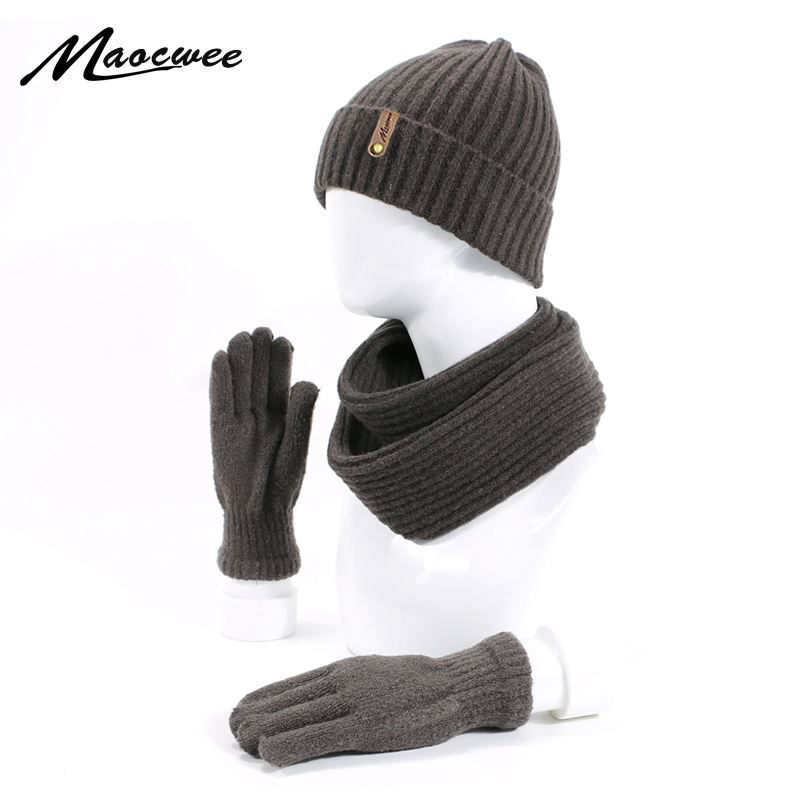 Winter Scarf Hat Gloves Set For Women Man Knitted Wool Cotton 3 Pcs Sets Cap Scarves Warm Suit Ski Caps Skullies Beanies 2019