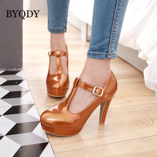BYQDY Fashion Women High Heel Shoes Women Round Toe T Strap Platform Sexy Pumps OL Lady Footwear Girlfriend Shoes Big Size 35-48 2017 new fashion big size brand shoes apricot rivetl thick heel fur women pumps round toe horse hair office lady causal shoes