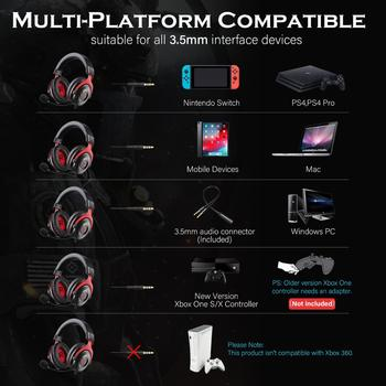 EKSA Gaming Headset with Virtual 7.1 Surround Wired Gamer Headphones With Noise Cancelling Mic For PC/Xbox/PS4 4