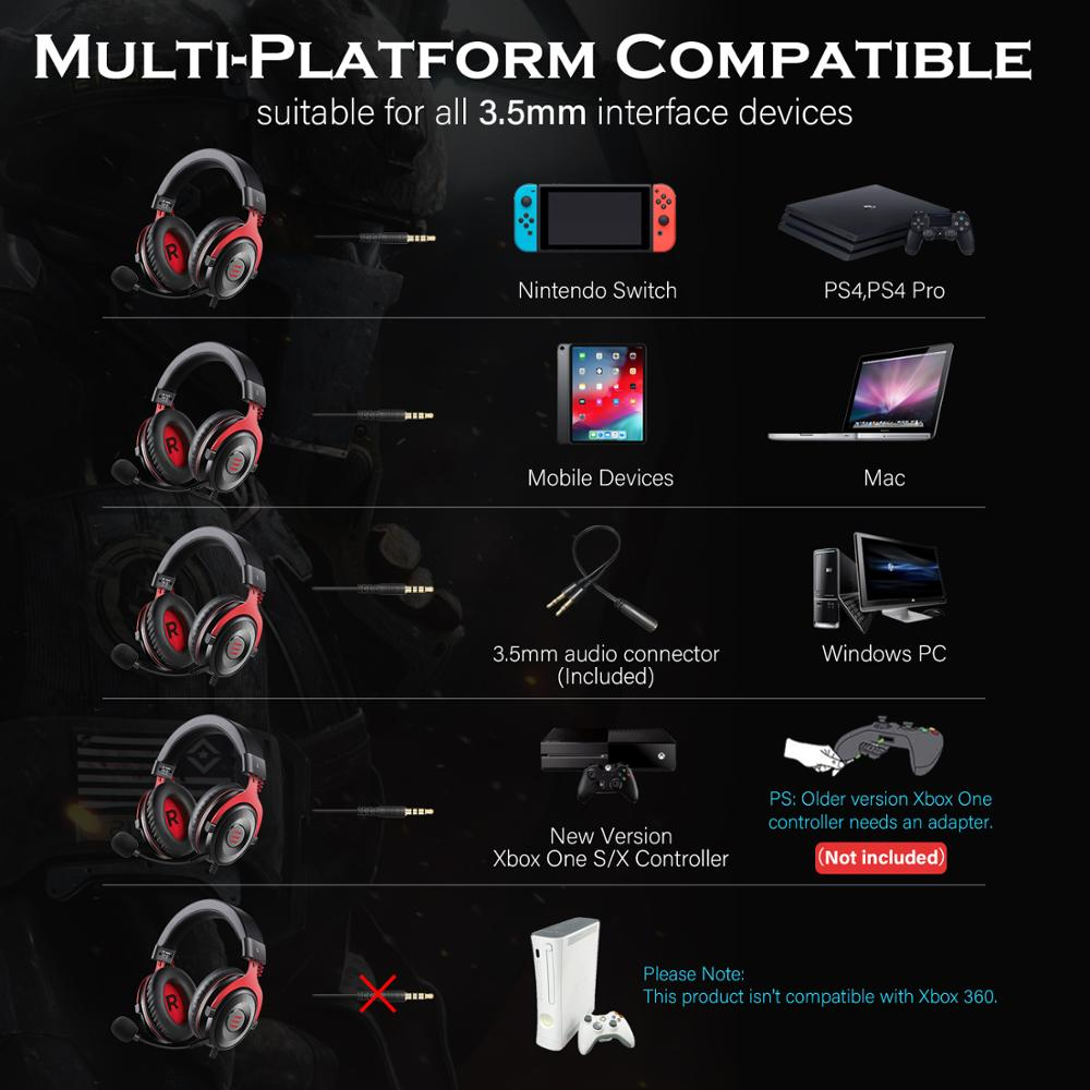 EKSA Gaming Headset with 7.1 Surround Wired Gamer Headphones With Noise Cancelling Detachable Mic For PC/Xbox/PS4 3