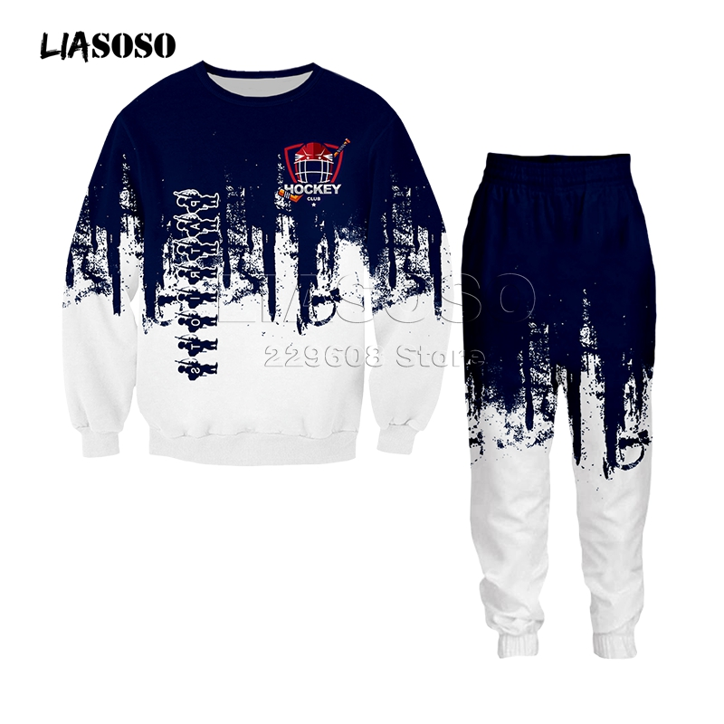 Men&women Fashion Clothing Set Sweatshirt+pants 2 Piece Tracksuits Hockey Uniform Print Suits Sport Wear Two-color Hip Hop Suit