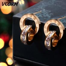 VCORM luksusowej marki cyframi rzymskimi złote małe kolczyki sztyfty dla kobiet Man Fashion cyrkonia kolczyk biżuteria ze stali nierdzewnej tanie tanio STAINLESS STEEL Kolczyki-sztyfty ROUND Unisex TRENDY moda Stud Earrings Wypychane Fashion Stud Earrings Round Stud Earrings