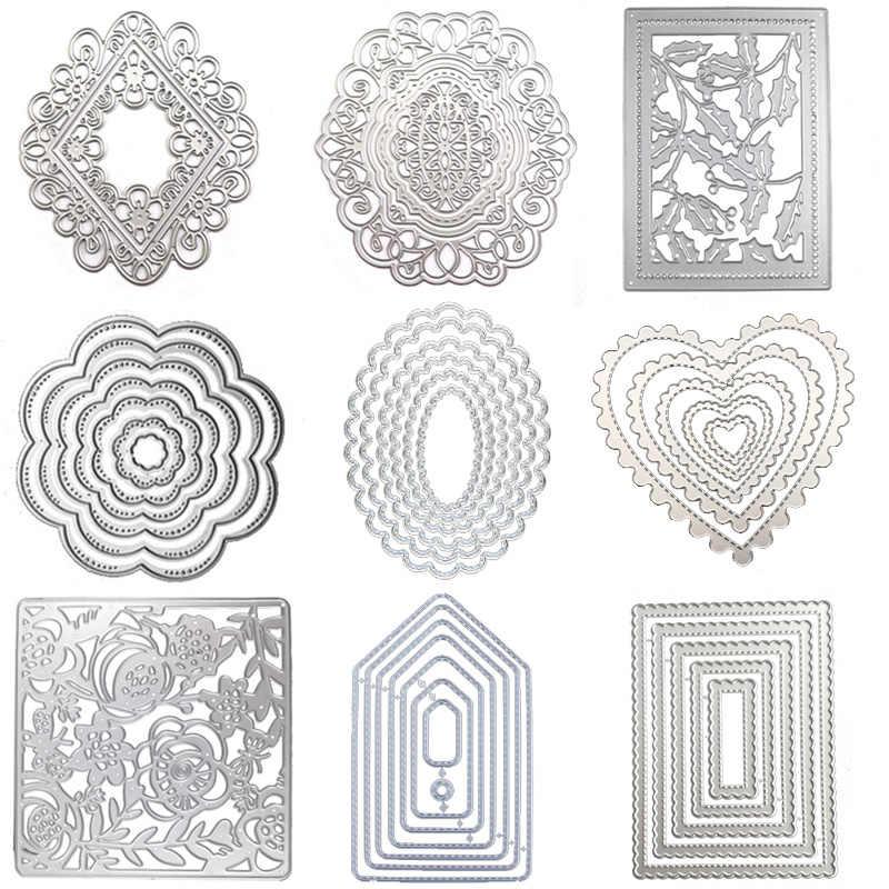 WYSE okrągłe metalowe wykrojniki kwadratowe serce koło Die prostokąt owalne tło Craft Die Scrapbooking dla karta DIY szablon