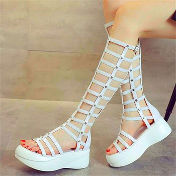 Women's Stretchy Knee High Gladiator Sandals Platform Summer Boots Chunky Rivets Creepers Comfort Party Casual Shoes