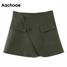 Skirts Buttons Streetwear Aachoae High-Waist Women Solid with Casual Mini Faldas Mujer