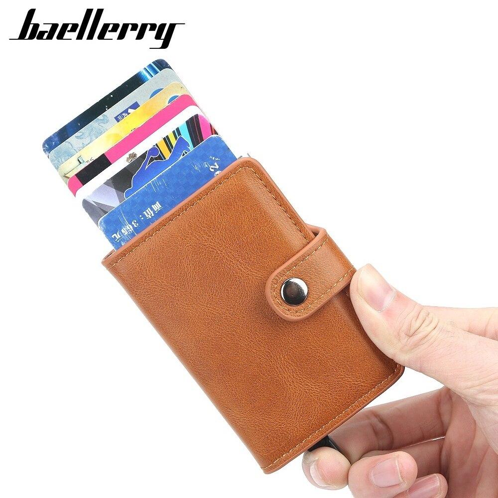 Система защиты Rfid Для мужчин id держатель для кредитных карт чехол-бумажник кожаных туфель с металлическим узором Алюминий Бизнес считать б...