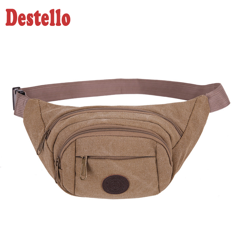 Canvas Chest Bag Fashion Solid Waist Pack With Adjustable Strap Light Weight Waterproof Barrel Shaped Fanny Pack Men Waist Bags