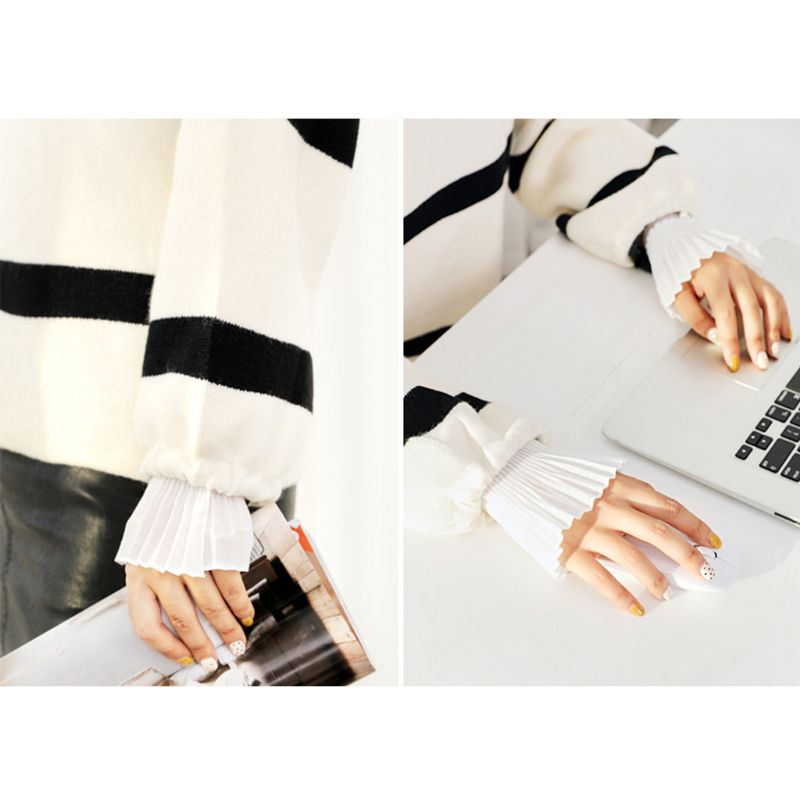 2Pcs/Pair 2Pcs/Pair 4 Styles Women Girls Fake Flare Sleeves Floral Lace Pleated Ruched False Cuffs Sweater Blouse Apparel Wrist