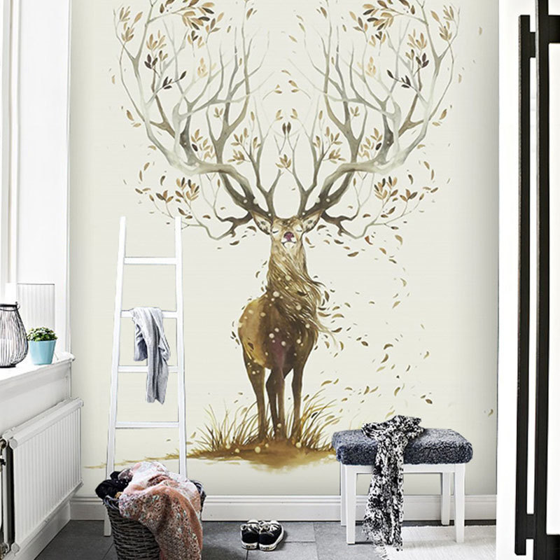 Northern European-Style INS Wind Forest Elk Wallpaper Hipster Animal Wall Cloth Entrance Living Room Bedroom Sofa Wall