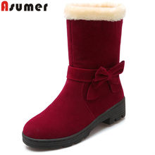 ASUMER 2020 fashion winte keep warm ladies boots round toe slip on women ankle boots med heels comfortable ladies snow boots(China)