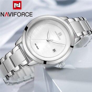 NAVIFORCE Fashion Women Watch Top Brand Luxury Silver Ladies Wristwatch Stainless Steel Bracelet Classic Date Female Clock 5008