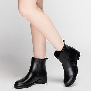 Image 3 - Damlama kadın kısa çizmeler su geçirmez kaymaz moda yağmur ayakkabıları kadın ayak bileği Chelsea yağmur çizmeleri ayakkabı kadın