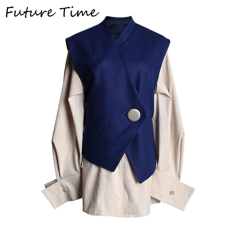 Future Time automne nouvelle mode lâche petit ami Style Blouse à manches longues chemise à carreaux avec gilet Vintage haut pour femme costumes