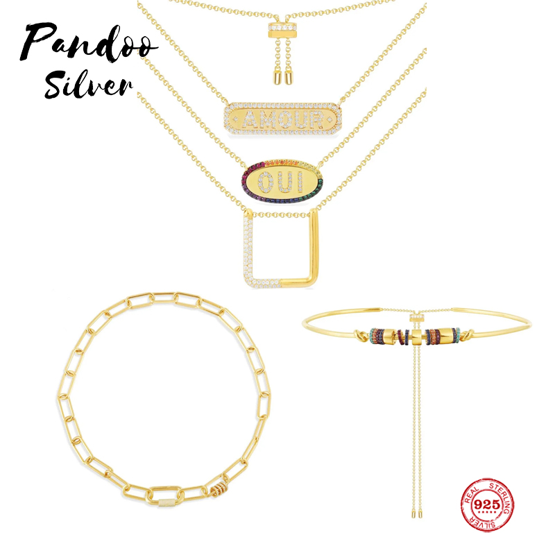 Sterling Silver 925 Jewelry,Square Adjustable Necklace,Chain Necklace With White Sliding Rings,Multi-Color Adjustable Choker