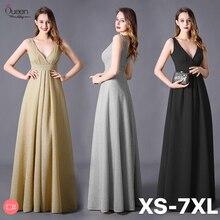Artı boyutu Glitter akşam elbise uzun sıkı A Line v yaka kolsuz Rufflers resmi düğün konuk elbisesi parti Robe De Soiree